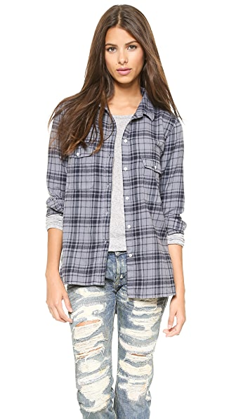 SUNDRY Plaid Flannel Button Down