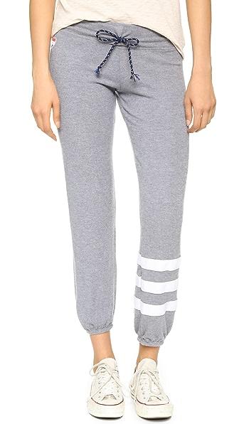 Sundry Sweater Knit Stripe Sweats - Heather Grey