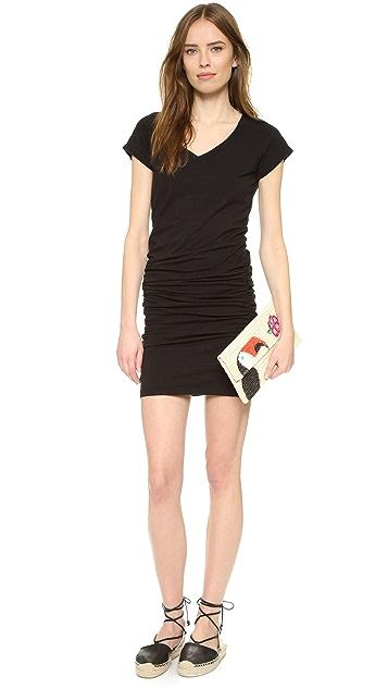 SUNDRY V Neck Short Sleeve Dress