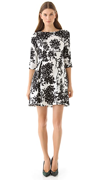 SUNO 3/4 Sleeve Flare Dress