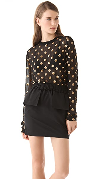 SUNO Sequin Dot Blouse