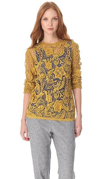 SUNO Long Sleeve Crochet Tee