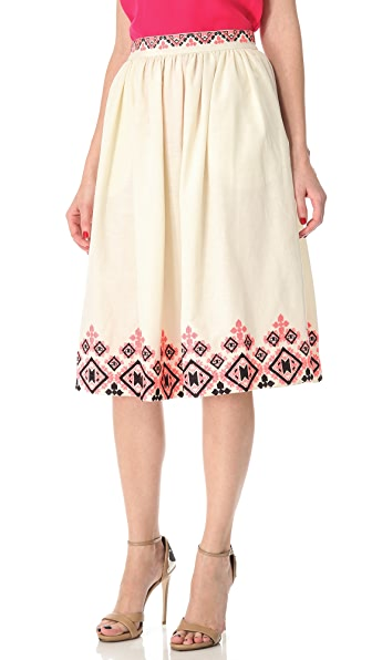 SUNO Embroidered Shirred Skirt