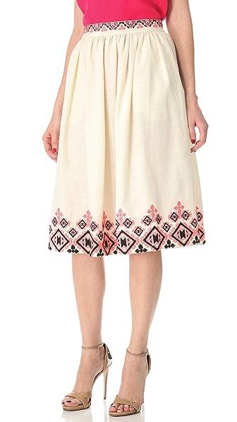 SUNO Embroidered Shirred Skirt