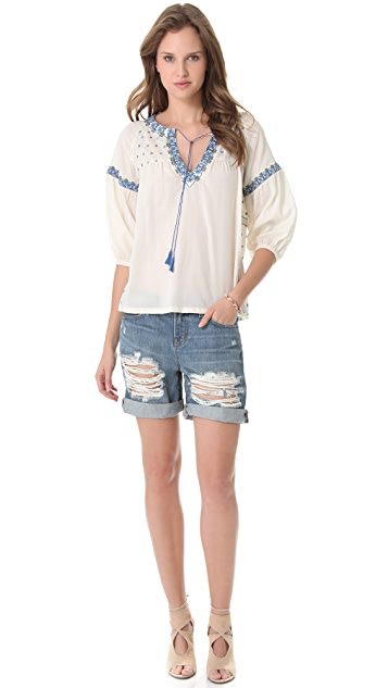 SUNO Long Sleeve Peasant Top