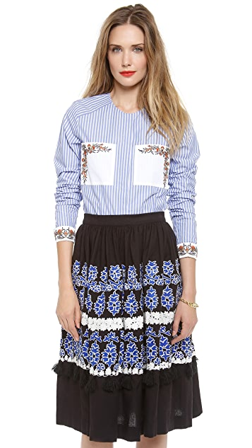 SUNO Collarless Pocket Blouse