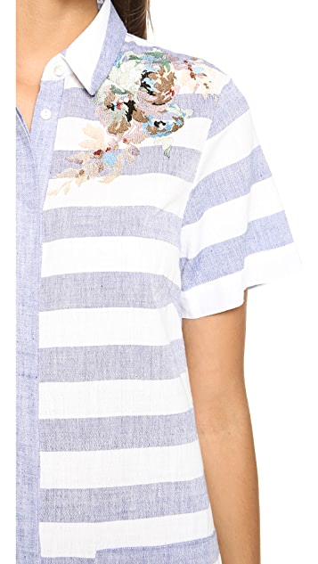 SUNO Embroidered Shirtdress