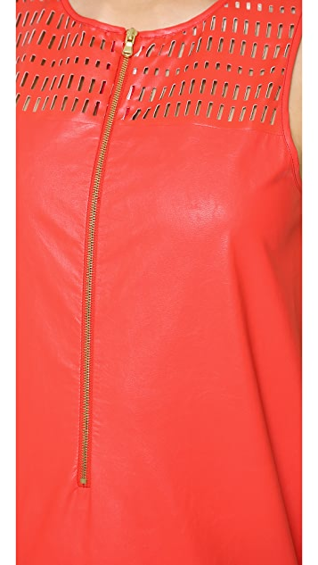 SUNO Faux Leather Pleated Hem Dress