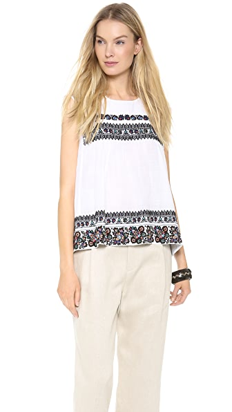 SUNO Sleeveless Embroidered Top