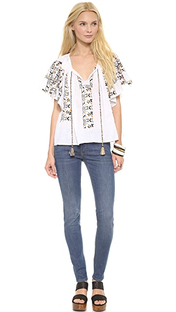 SUNO Embroidered A Line Top