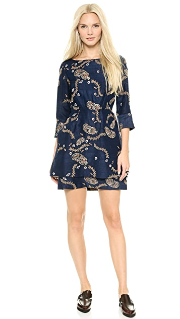SUNO Embroidered Mini Dress