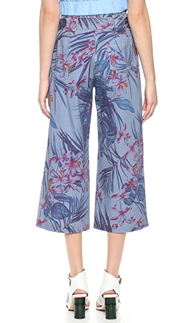 SUNO Floral Print Denim Trousers