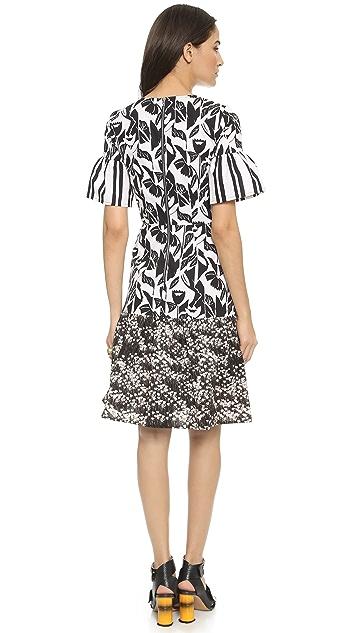 SUNO Ruffled Hem Dress