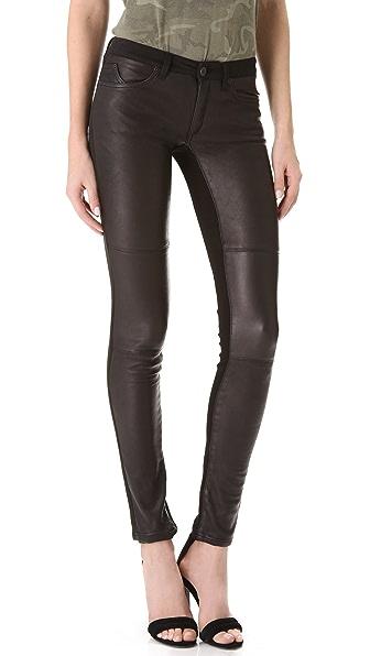 Superfine Leather Panel Skinny Jeans