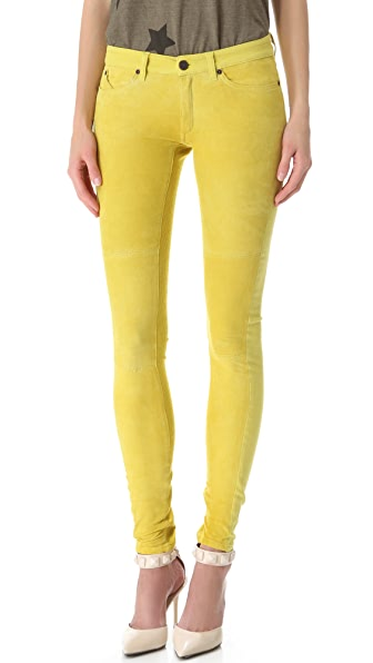 Superfine Suede Panel Skinny Jeans