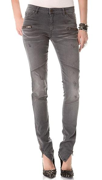 Superfine Moto Zip Skinny Jeans