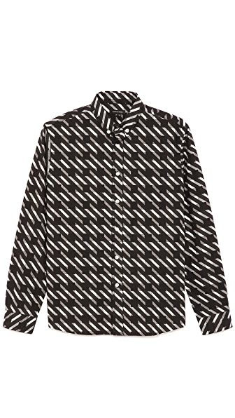 Surface to Air Cracked Cotton Shirt with Printed Placket