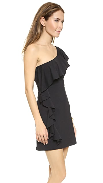 Susana Monaco One Shoulder Flutter Dress