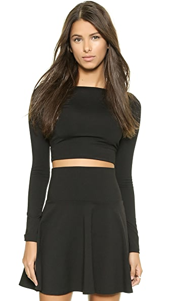 Susana Monaco Scoop Back Crop Top - Black