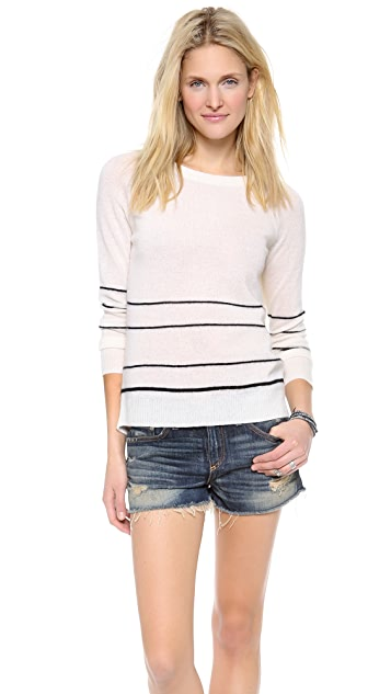 360 SWEATER Gia Stripe Cashmere Sweater