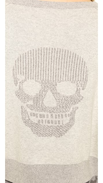 360 SWEATER Skull Crop Sweatshirt