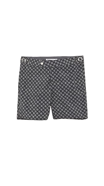 Swim-Ology Button Print Swim Trunks