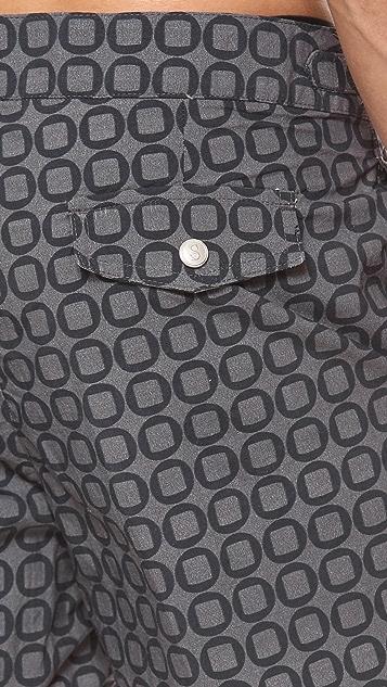 Swim-Ology Button Print Swim Trunks