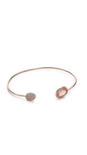 Tai Asymmetric Pave Bangle Bracelet