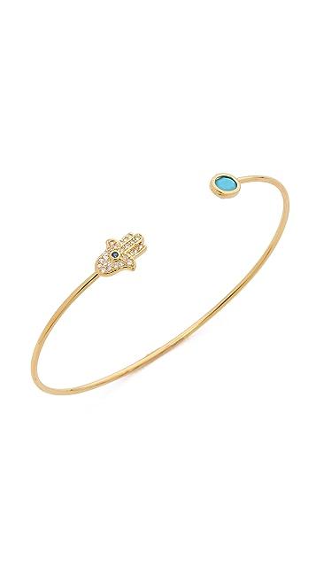 Tai Hamsa Open Bangle Bracelet