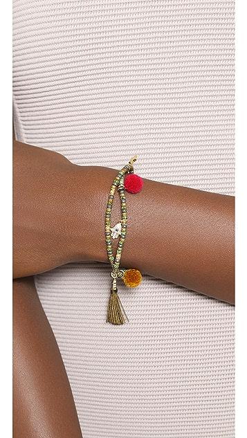 Tai Hamsa Pom Pom Beaded Bracelet