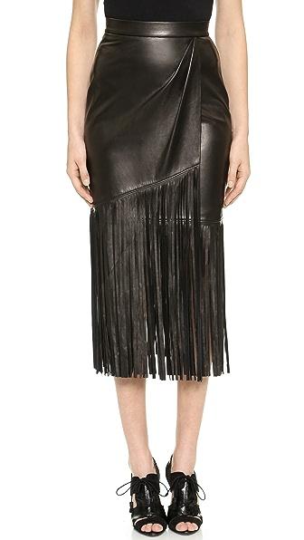 Tamara Mellon Leather Fringe Skirt - Black