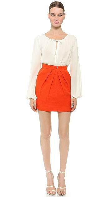 Tamara Mellon Miniskirt with Gold Piping