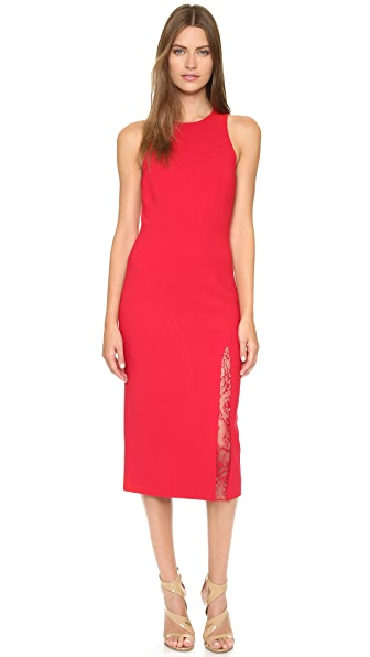 Tamara Mellon Sheath Dress with Lace Insert Slit