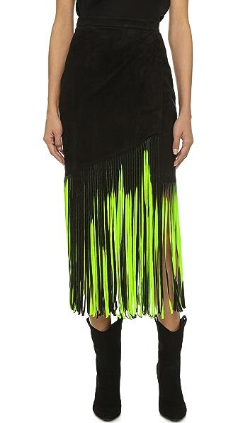 Tamara Mellon Signature Fringe Skirt - Black/Neon Green