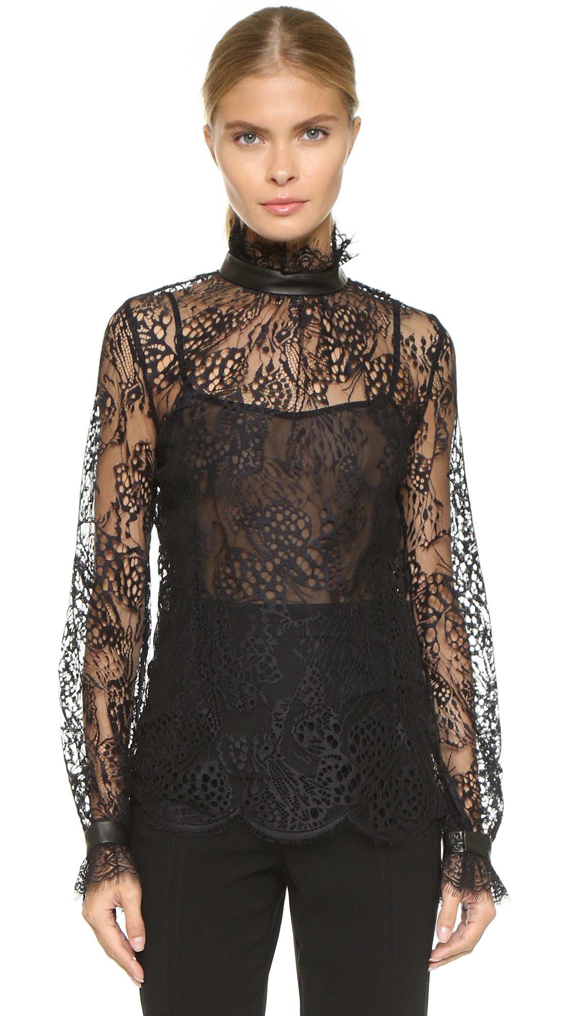 Tamara Mellon Lace Turtleneck Blouse | SHOPBOP SAVE UP TO 25% Use ...