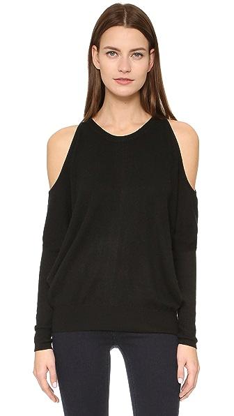 Tamara Mellon Cashmere Rib Cold Shoulder Sweater