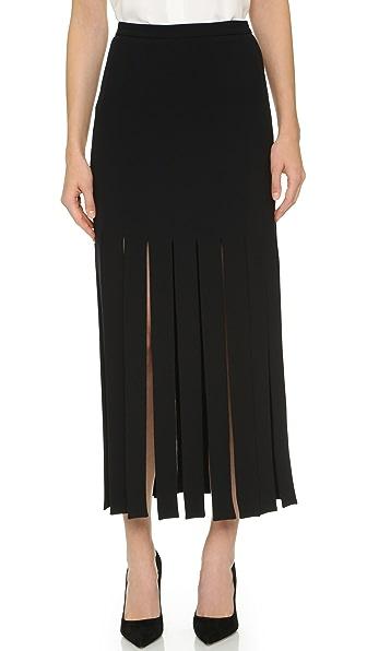 Tamara Mellon Wide Fringe Skirt - Black