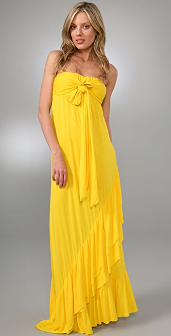 MISA Tie Front Long Dress