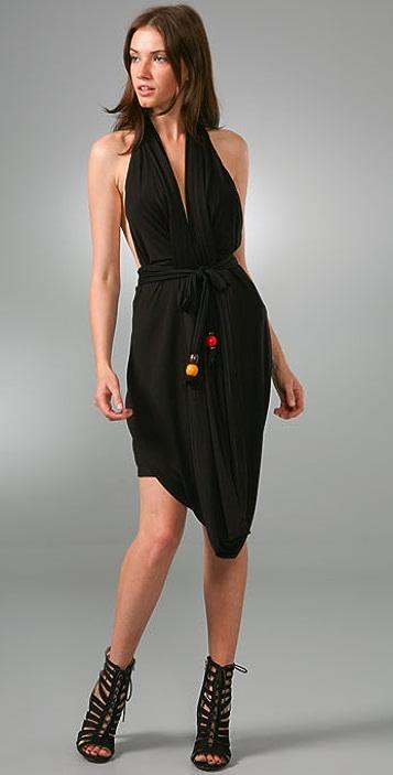 MISA Belted Drape Dress