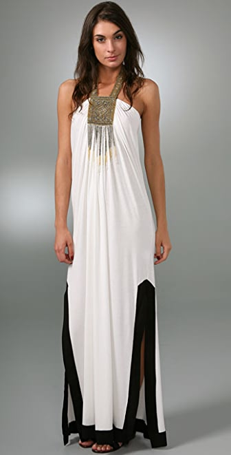 Tbags Los Angeles Gold Necklace Long Dress