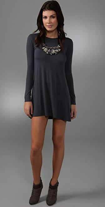 MISA Long Sleeve Necklace Dress