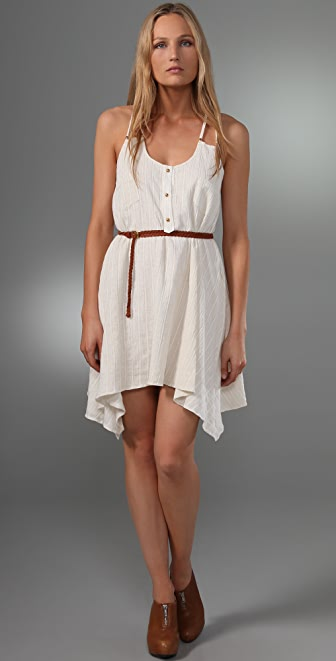 MISA Double Strap Pocket Dress with Braided Leather Belt