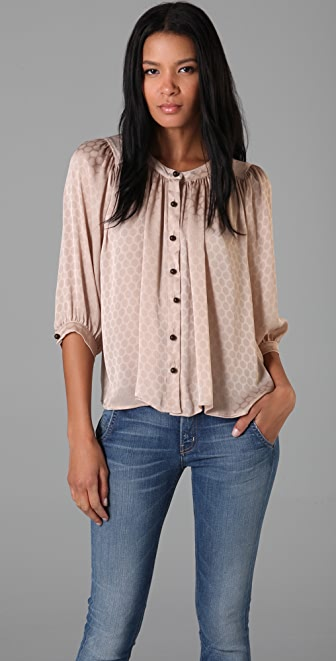 Tbags Los Angeles Polka Dot Blouse