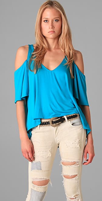 MISA Draped Shoulder Top