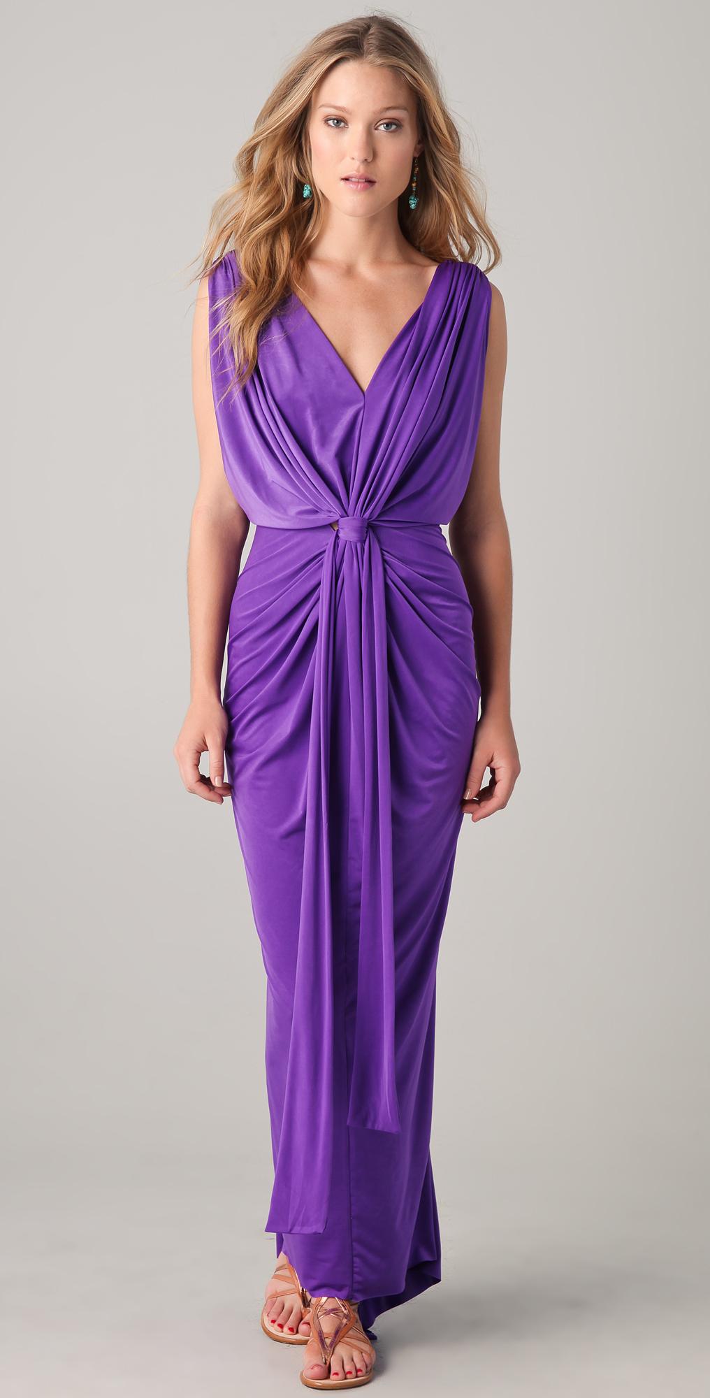 MISA Gathered V Maxi Dress | SHOPBOP
