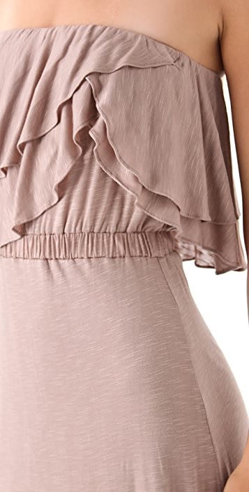 MISA Ruffle Strapless Maxi Dress