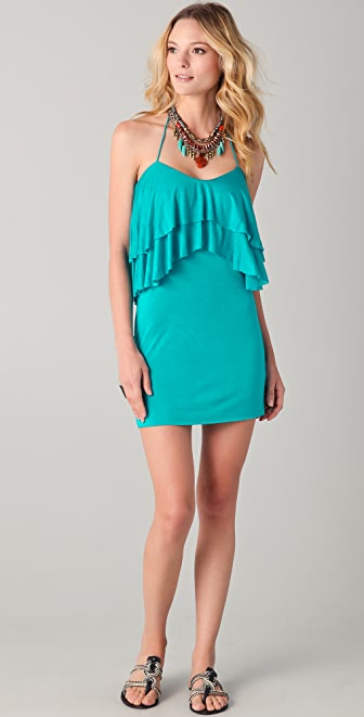MISA Halter Ruffle Mini Dress