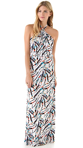 MISA Printed Halter Maxi Dress