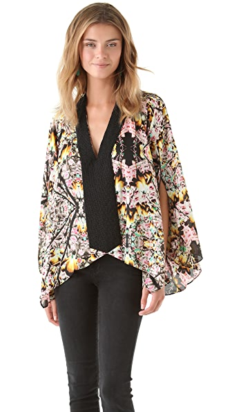 Tbags Los Angeles Draped Print Top