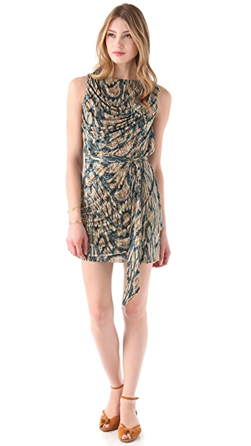 MISA Draped Sleeveless Dress